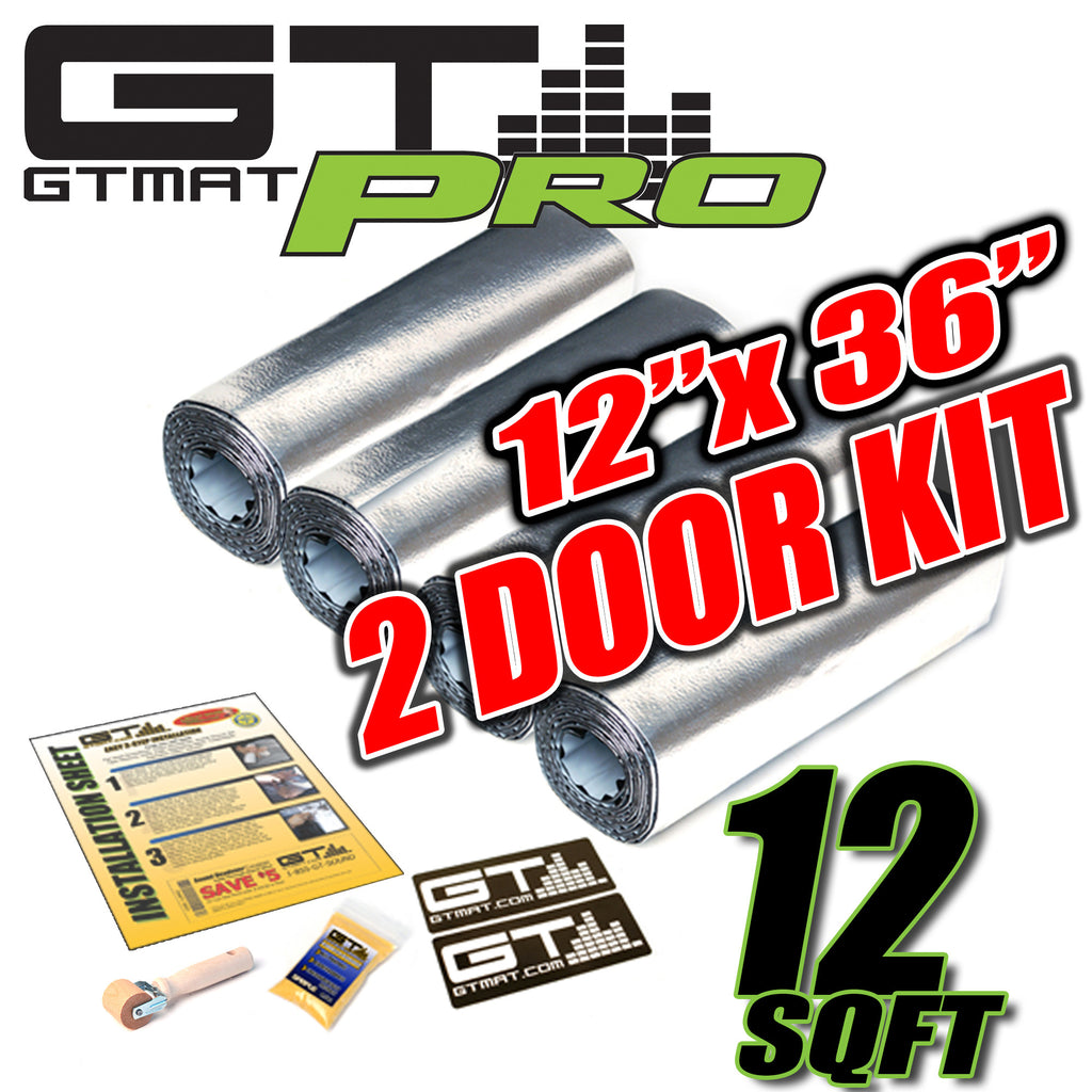 "12 SQ FT GTmat Pro 50mil 2 Door Kit 12""x36"" Car Audio Sound Deadener"