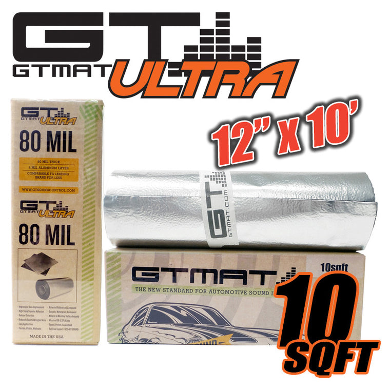 10 SQ FT GTmat Ultra 80mil Car Truck Panel Deck Door Sound Deadener Kit
