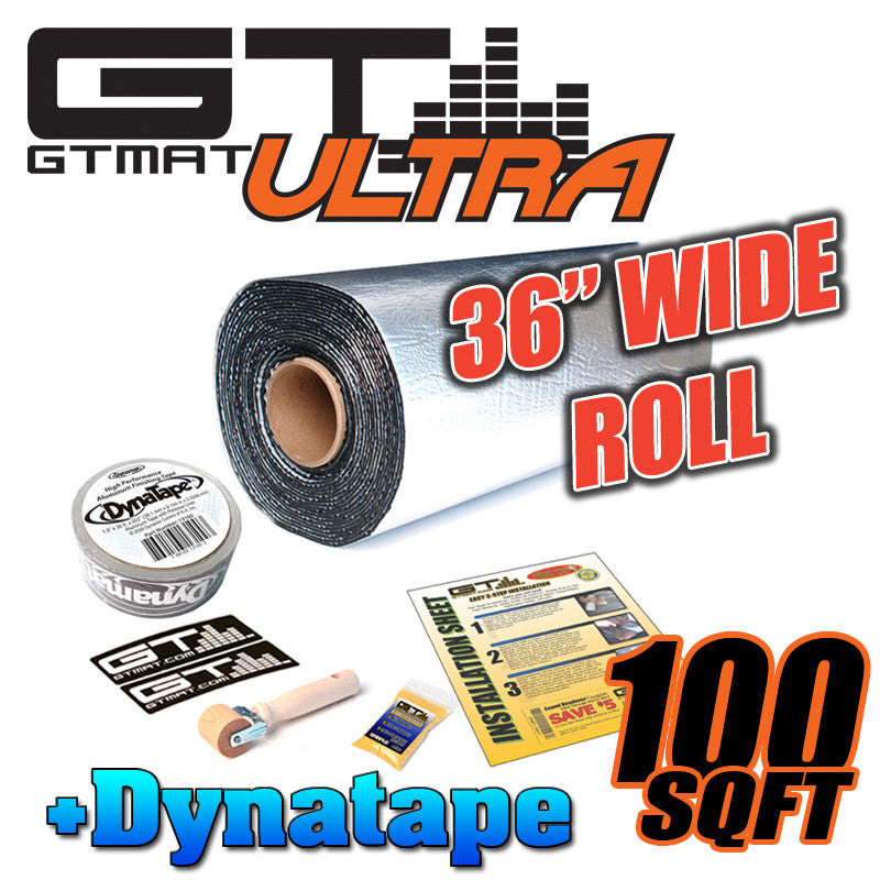 "100 SQ FT GTMAT 36"" Wide Ultra 80mil Car Audio Sound Deadener with Dynatape"