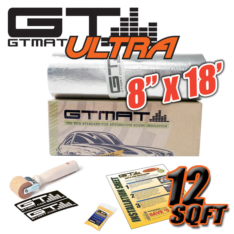 "12 SQ FT 8""x18' GTmat Ultra 80mil Car Sound Deadener Kit with Roller"
