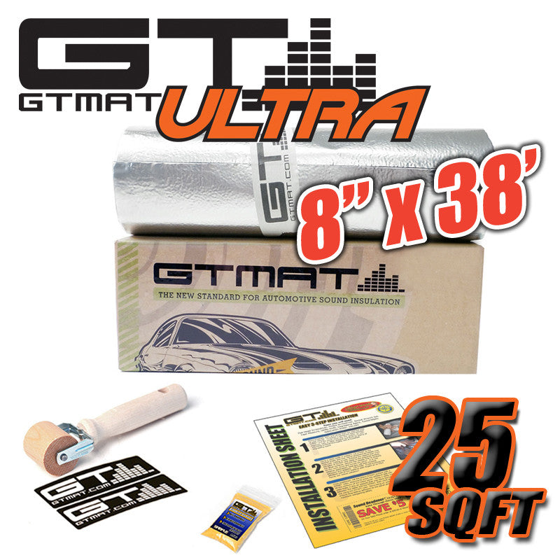 "25 SQ FT 8""x38' GTmat Ultra 80mil Car Sound Deadener Kit with Roller"
