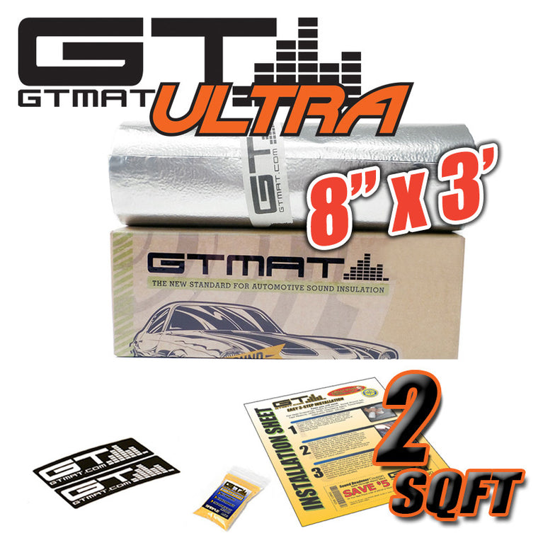 "2 SQ FT 8""x3' GTmat Ultra 80mil Car Sound Deadener Kit"