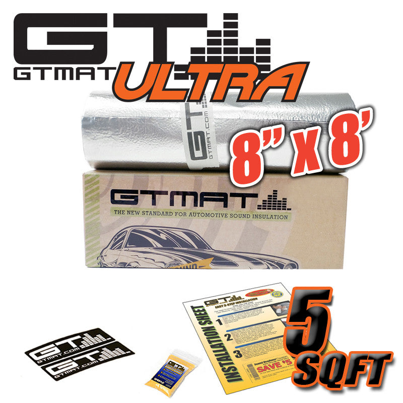 "5 SQ FT 8""x8' GTmat Ultra 80mil Car Sound Deadener Kit"