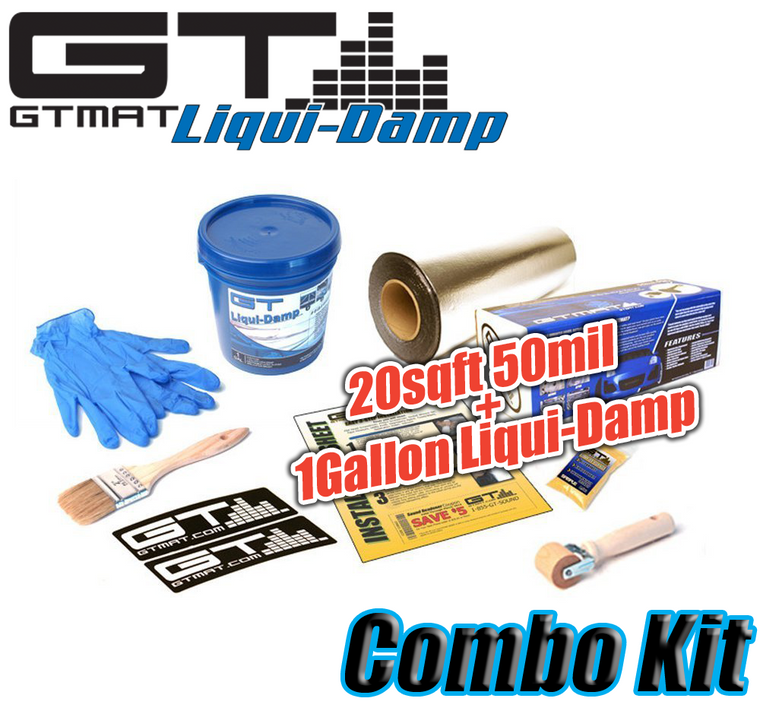 20 SQ FT GTmat Pro 50mil with 1 Gallon GTMAT Liqui-Damp Car Audio Sound Deadener Combo Kit