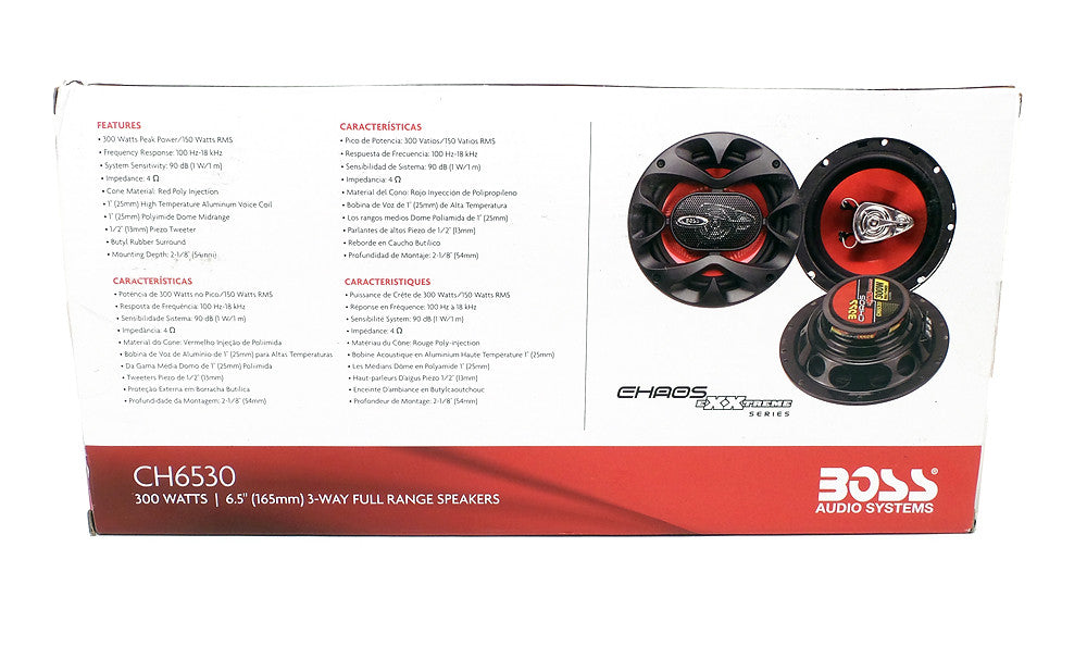 "BOSS Chaos Exxtreme 6.5"" 3-Way 300W Full Range Speaker Pair CH6530"