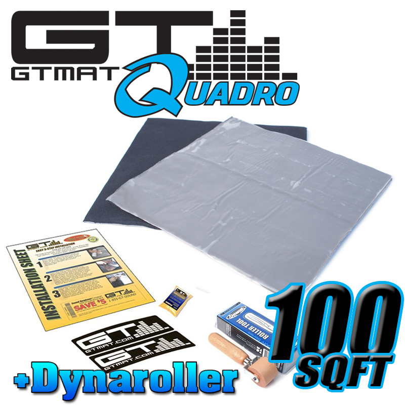 100 SQ FT GTMAT Quadro Car Audio Sound Deadener with Dynamat Roller