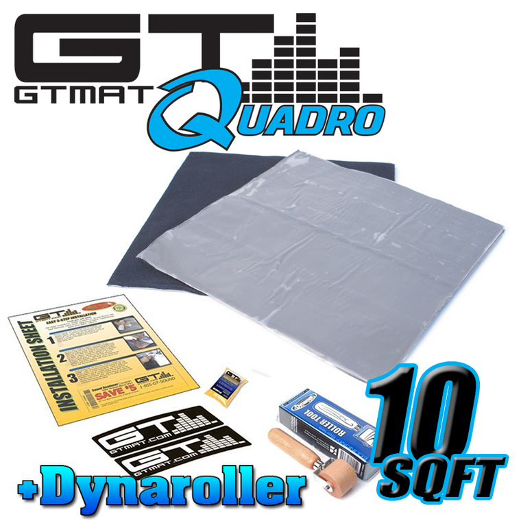 10 SQ FT GTMAT Quadro Car Audio Sound Deadener with Dynamat Roller