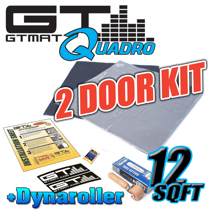 12 SQ FT GTMAT Quadro 2 Door Kit Car Audio Sound Deadener with Dynamat Roller