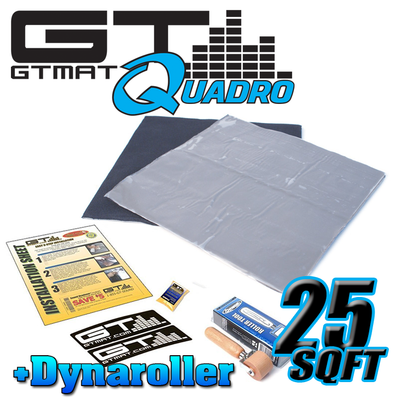 25 SQ FT GTMAT Quadro Car Audio Sound Deadener with Dynamat Roller