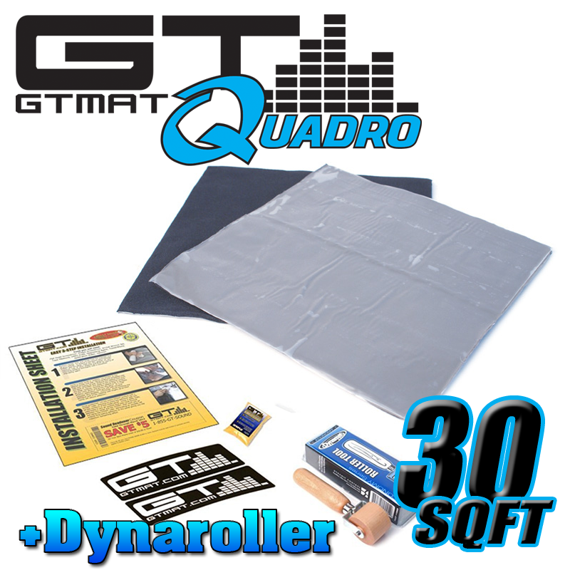 30 SQ FT GTMAT Quadro Car Audio Sound Deadener with Dynamat Roller
