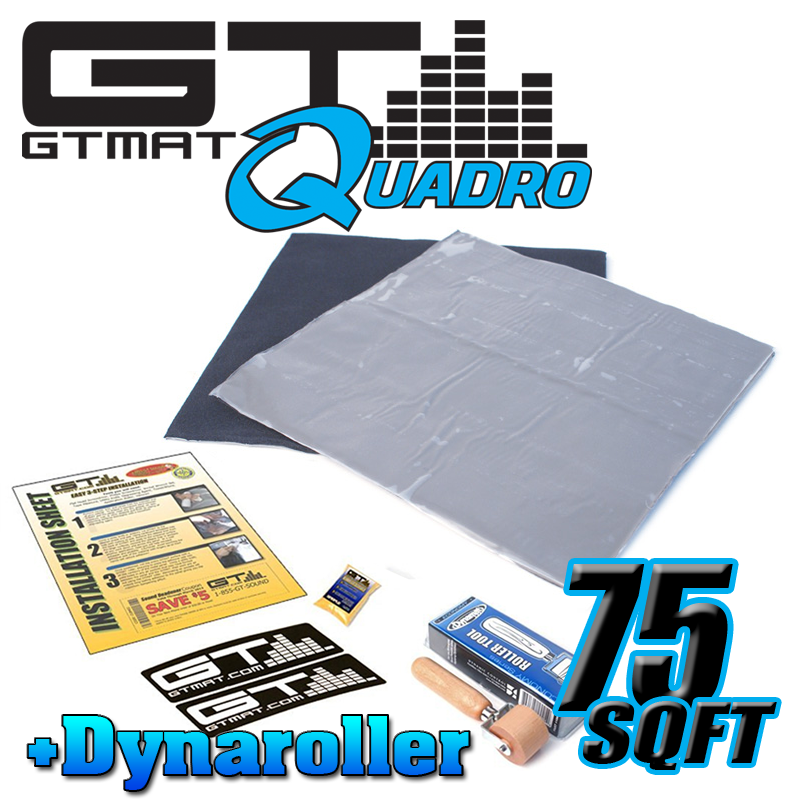 75 SQ FT GTMAT Quadro Car Audio Sound Deadener with Dynamat Roller