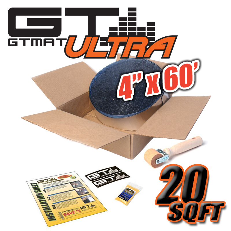"New 20 SQ FT (4"" x 60' ) GTmat Ultra 80mil Car Audio Sound Deadener"