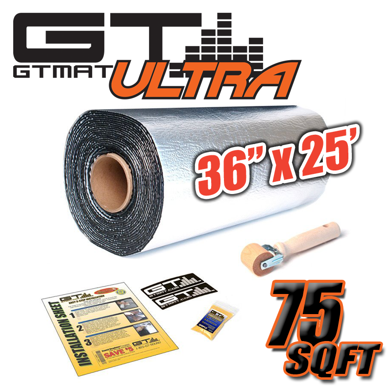 "36"" Wide 75 SQ FT GTmat Ultra 80mil Car Audio & Heat Shield Sound Deadener"
