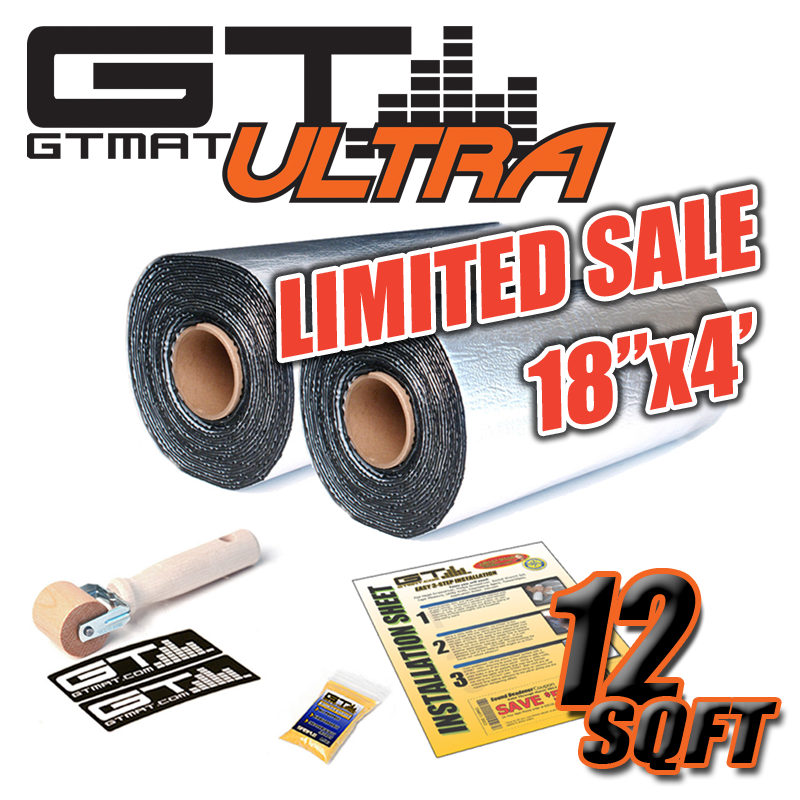 "LIMITED SALE - 12 SQ FT GTmat Ultra 80mil (2 Rolls 18""x4') Car Audio Sound Deadener"
