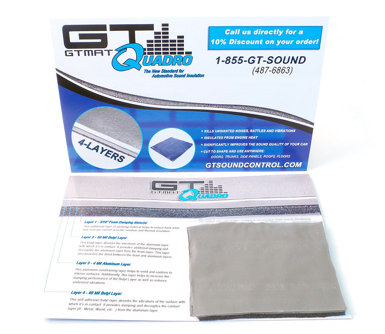 "FREE SAMPLE GTMAT Quadro 120mil Butyl Sound Deadener 3""x4"" Sheet"