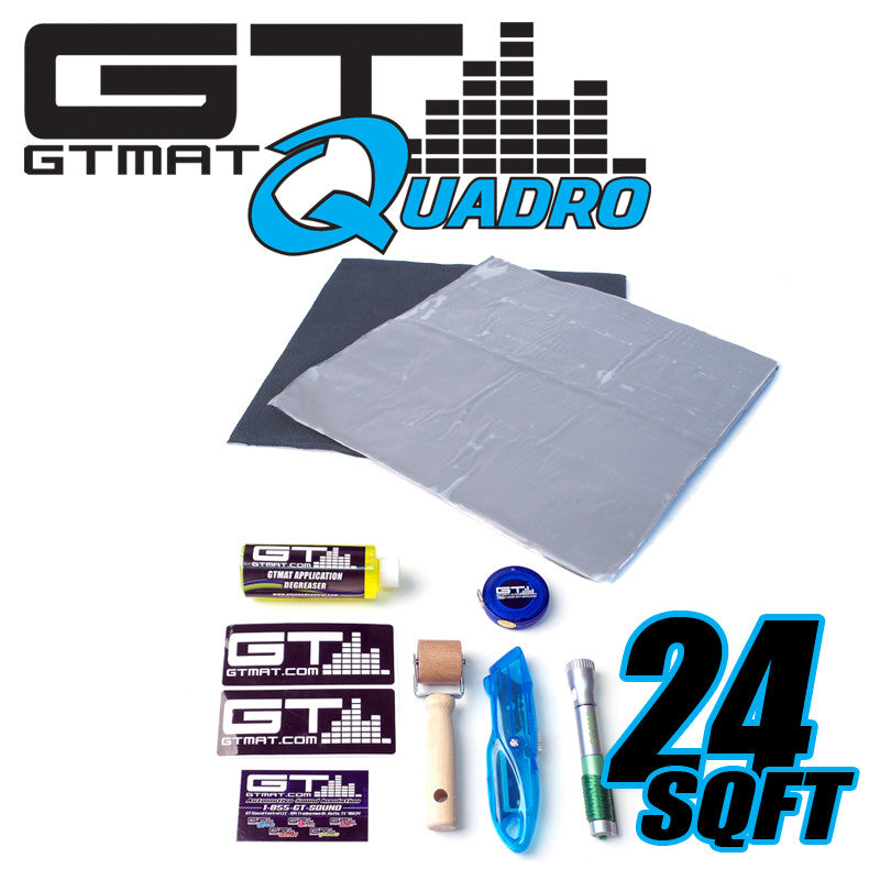 24 SQ FT GTMAT Quadro Bulk Pack Car Audio Sound Deadener with Installation Kit