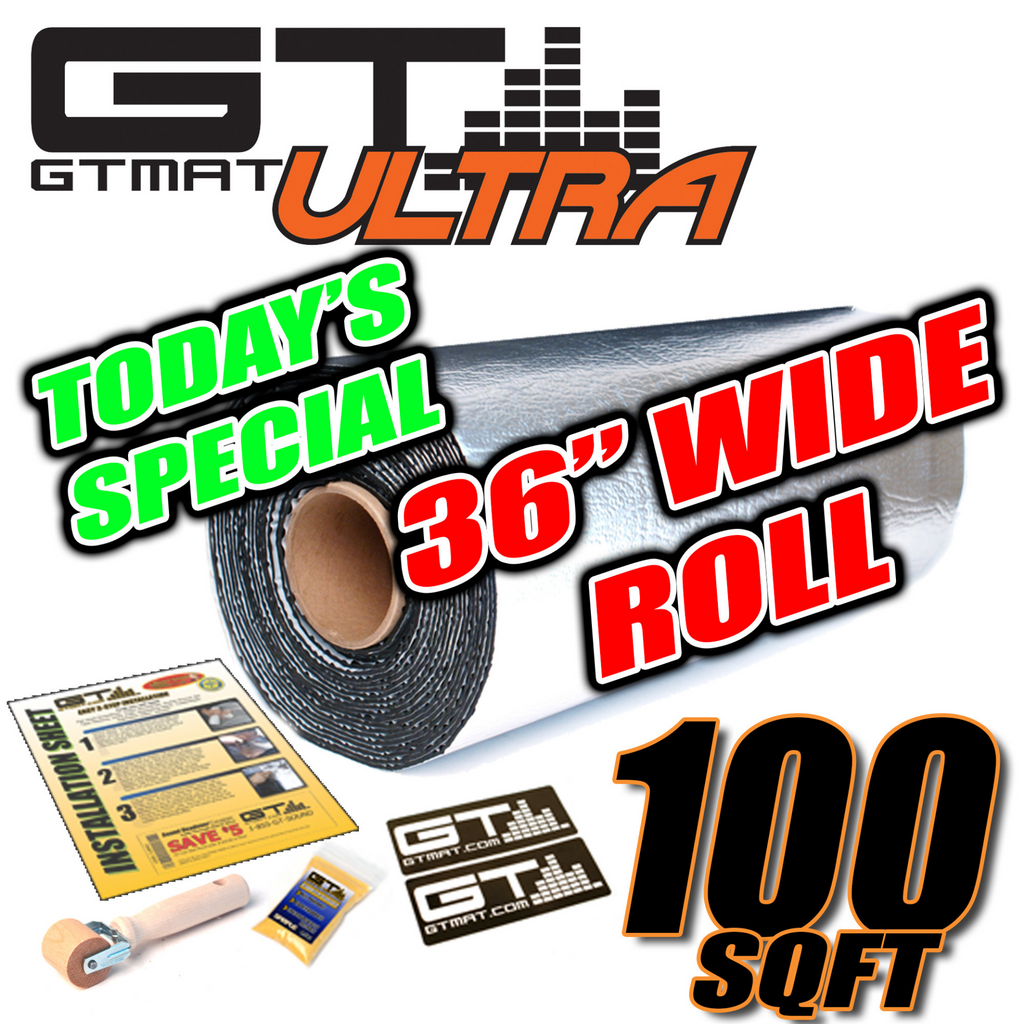 "TODAY'S SPECIAL 100 SQ FT 36"" Wide GTmat Ultra 80mil Car Audio Sound Deadener"