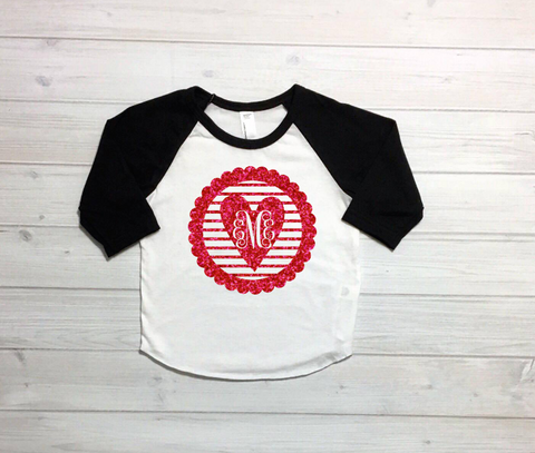 Girls Monogram Shirt, Valentines Day monogram, Girls valentines day shirt, Vday monogram, Baby Girl Monogram, Monogram Heart Raglan,