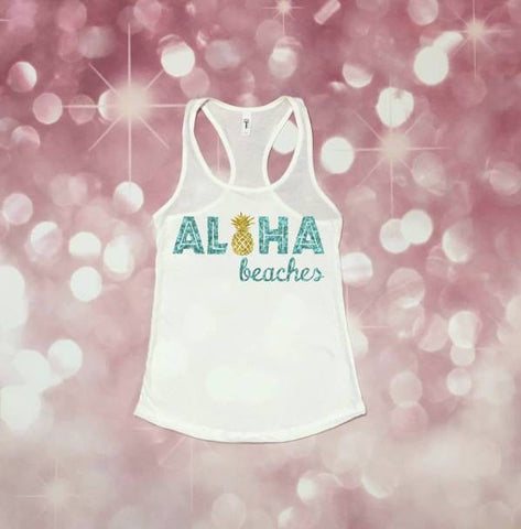Women's Tank, Beach Tank, Beach Vacation Shirt, Beach Please, Funny Tank, Pineapple Tank, *runs small, size up*