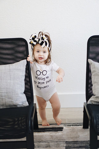 Harry Potter Bodysuit, Harry Potter Baby Girl, Waiting On My Letter From Hogwarts, baby geek, baby girl, harry potter, hogwarts, mama geek