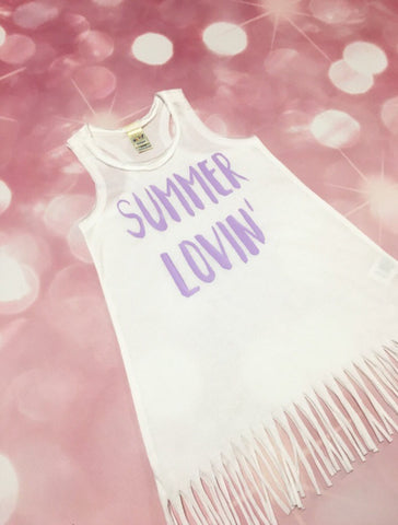 SALE, Girls Fringe Dress, Girls Summer Dress, Summer Lovin', White Dress, Fringe Dress, Girls Summer Dress, Toddler Dress, Summer