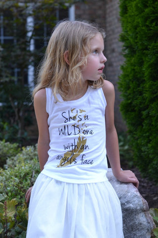shes a wild one with an angels face tank, girls country music tank