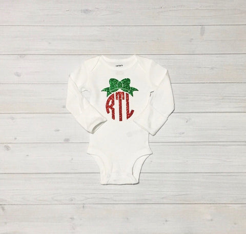 Holiday Bodysuit, Christmas Monogram, Personalized, Monogram, Holiday, Christmas, Girls, Toddler, Christmas Shirt, Sparkly Monogrammed Bodysuit