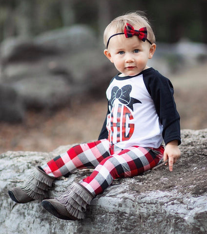 Girls Monogram, Monogrammed Raglan, Monogram, Buffalo Plaid, Christmas, Girls, Toddler, Buffalo Plaid Shirt, Sparkly Monogrammed Raglan