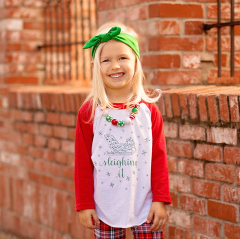 Kids Christmas shirt, Sleighing It Shirt, Sleigh Shirt, Slaying it shirt, Baby girl Christmas outfit, Christmas raglan, trendy kids, sleigh