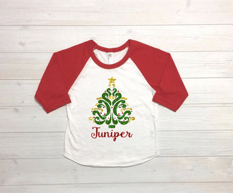 Girls christmas tree shirt, personalized christmas shirt