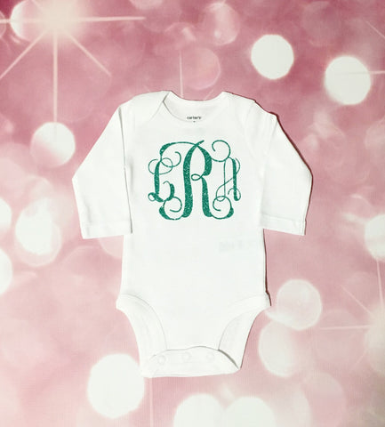Monogram Bodysuit - Glitter Monogram Bodysuit - Coming Home Outfit - Personalized Bodysuit - Newborn Girl - Baby Girl - Babyshower Gift - Monogram