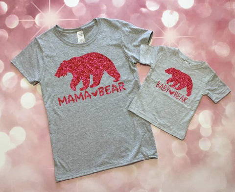 Mommy and Me Outfits, Mama Bear Shirt, Mommy and Me, Mommy and Me Clothing, Baby Girl and Mom, Baby Bear Shirt, Toddler Girl, Baby Girl