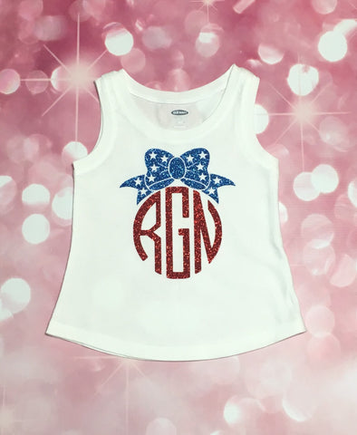 Girls 4th of July Shirt, Girl's 4th of July Monogram