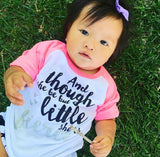 SALE, Though She Be But Little She Is Fierce, Hipster Tee, Girls Raglan Tee, Baby Shower Gift, Girls Tee, Trendy Kid