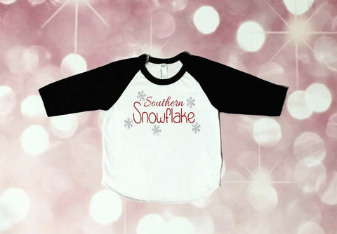 Girls Snowflake Raglan, First Christmas, Girls Christmas Shirt, Christmas Outfit, Southern Christmas, toddler girl, baby girl, glitter