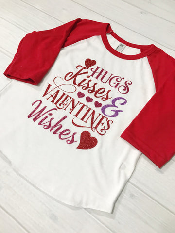 Girls Valentine Raglan, girls Valentine's day shirt, valentines day shirt, Kisses Shirt, toddler girl, baby girl, first Valentine's Day
