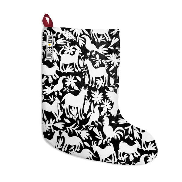 An Otomi Pattern Black and White Christmas Stockings