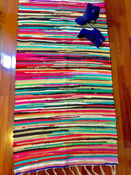 Artisan Chindi Rag Rug, Hand Made Yoga Mat, Throw Rug 3x5ft Handmade Woven Mat - LuluBee+Kewi