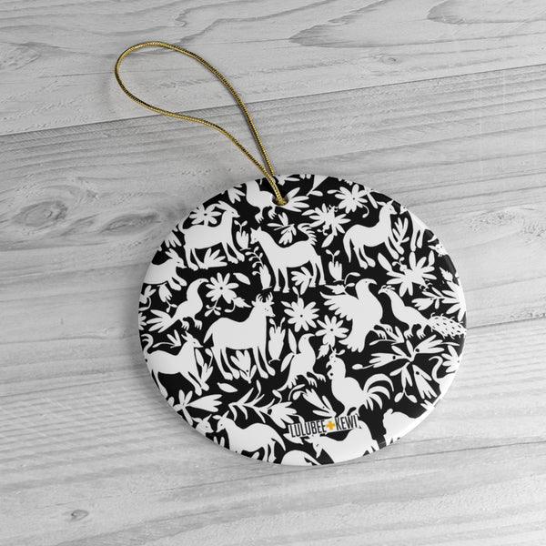 An Otomi Pattern Black and White Ceramic Ornaments