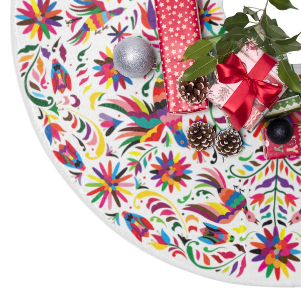 An Otomi Inspired Pattern Feliz Christmas Tree Skirt