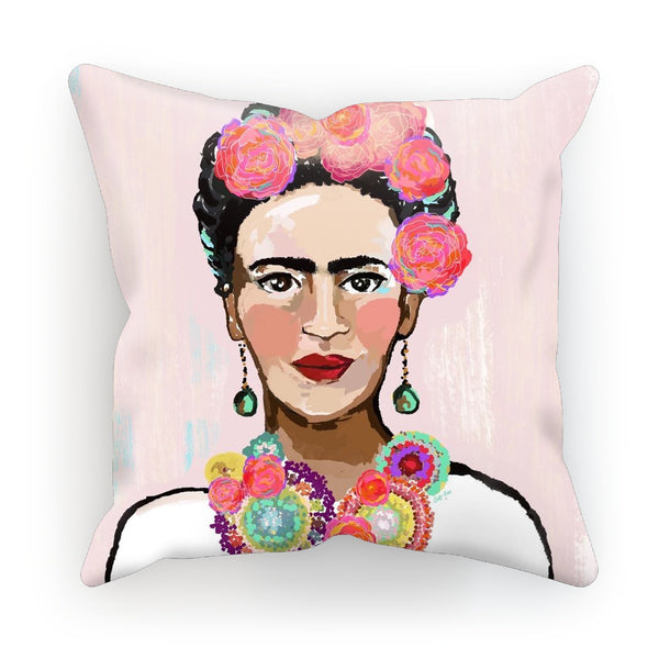 Frida Khalo Painted Pink,  by Catherine Cortes Cushion