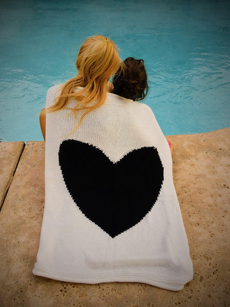Love is Black and White Heart Knit Blanket