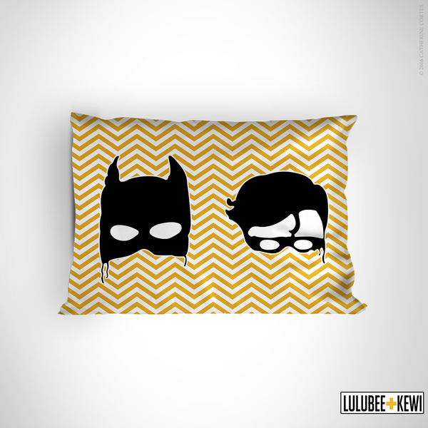 Batman and Robin Pillowcase, Hand Drawn Pillow Sham by American Artist Catherine Cortes - LuluBee+Kewi