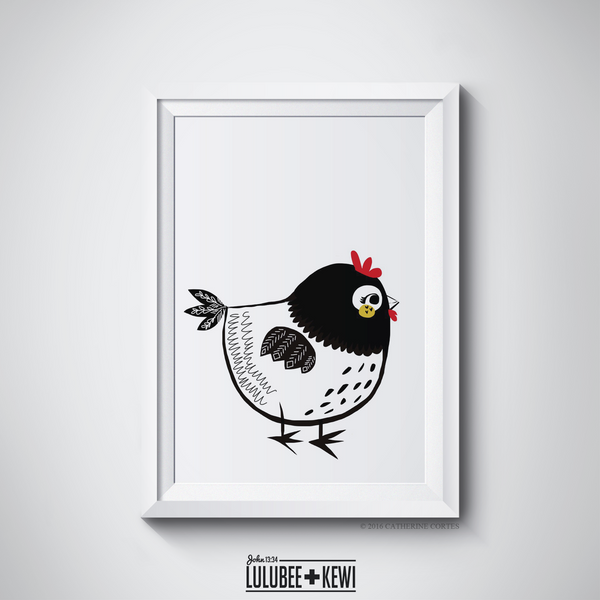The Chicken Illustration by American Artist Catherine Cortes - LuluBee+Kewi