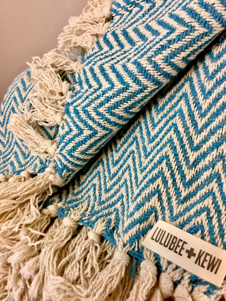 Teal and Cream Chevron Hand Knit Blanket - LuluBee+Kewi