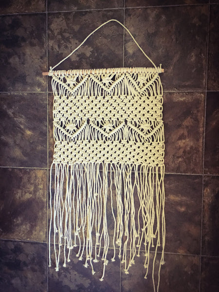 Macrame Hanging with Roving Starburst Edge, Hand Crafted Macrame Wall Decor / Nursery Decor / Baby Shower Gift / Bohemian Home Decor - LuluBee+Kewi