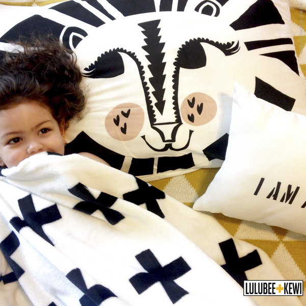 Lion Around Pillowcase, Hand Drawn Pillow Sham by American Artist Catherine Cortes - LuluBee+Kewi