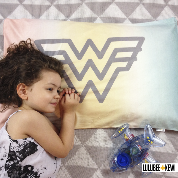 Wonder Woman Pillowcase in Pastel Watercolor - LuluBee+Kewi