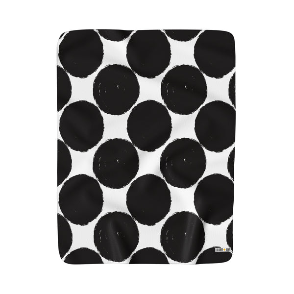 Polka Dot Black and White Sherpa Fleece Blanket 50x60 - LuluBee+Kewi