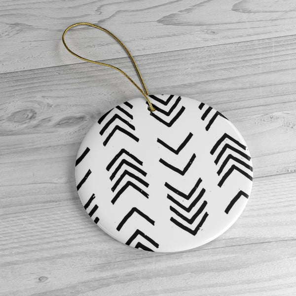 A Black and White MudCloth Inspired Ceramic Christmas Ornament | Neutral Modern Boho Holiday Decor